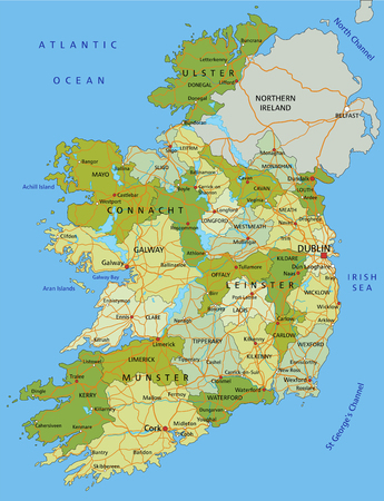 Highly detailed editable political map with separated layers. Ireland.