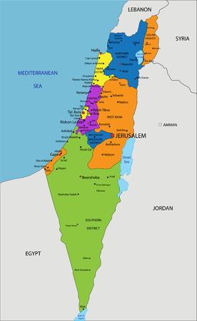 Kolorowa mapa polityczna Izraela z wyraźnie oznaczonymi, oddzielnymi warstwami. Ilustracja wektorowa.