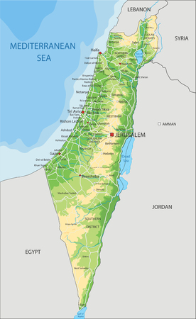 High detailed Israel physical map with labeling. 矢量图像