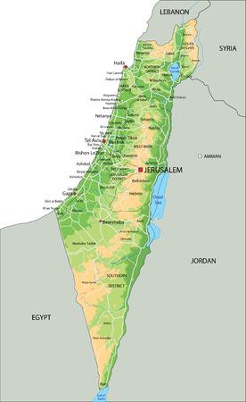 Mappa fisica di Israele altamente dettagliata con etichettatura. Vettoriali
