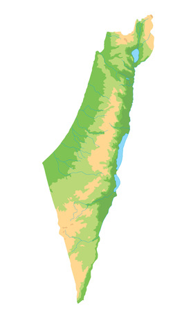 High detailed Israel physical map.