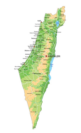 High detailed Israel physical map with labeling. Stockfoto - 122617698