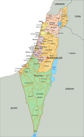 Israele - Mappa politica altamente dettagliata e modificabile con etichettatura.
