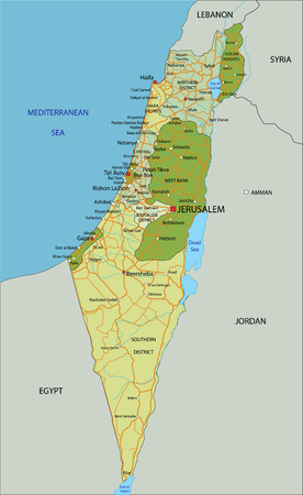 Highly detailed editable political map with separated layers. Israel.