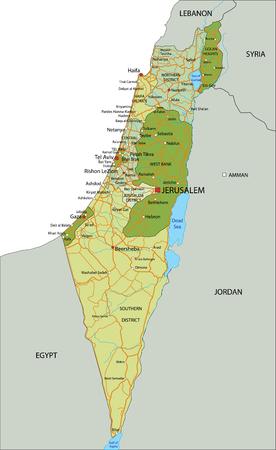 Mappa politica modificabile altamente dettagliata con livelli separati. Israele. Vettoriali