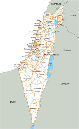 High detailed Israel road map with labeling.