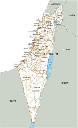 Hochdetaillierte Israel-Straßenkarte mit Beschriftung. Vektorgrafik