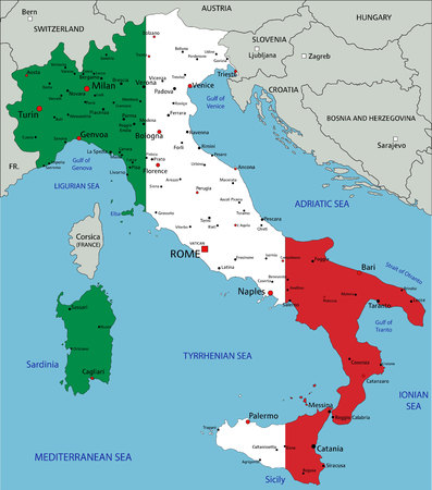 Italy highly detailed political map with national flag isolated on white background.