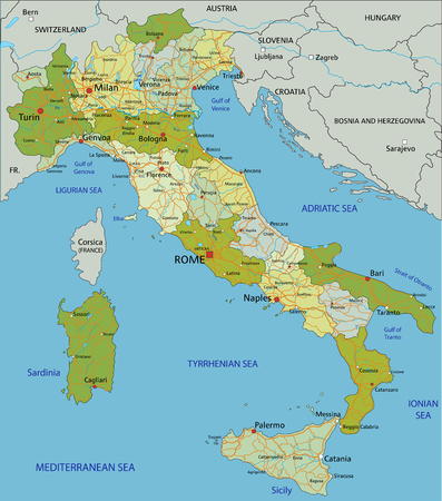 Highly detailed editable political map with separated layers. Italy. Illustration