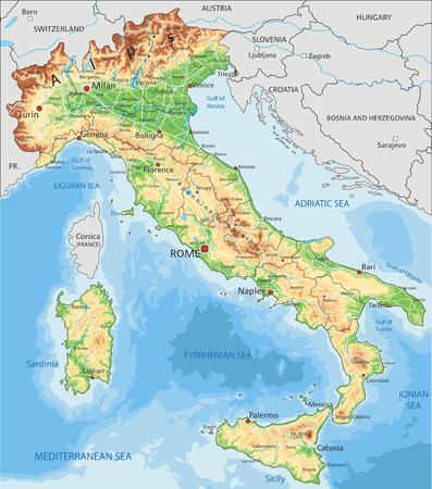 Szczegółowa mapa fizyczna Włoch z etykietą. Ilustracje wektorowe