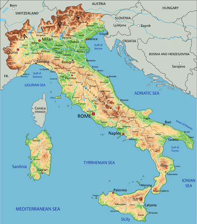 High detailed Italy physical map with labeling.