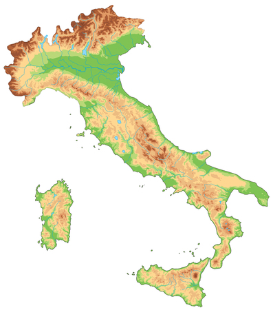 High detailed Italy physical map. Stock Illustratie