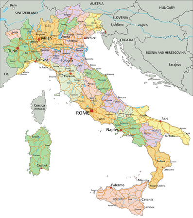 Italy - Highly detailed editable political map with separated layers. Vector Illustration