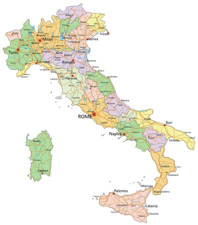 Italia: mapa político editable muy detallado con capas separadas.