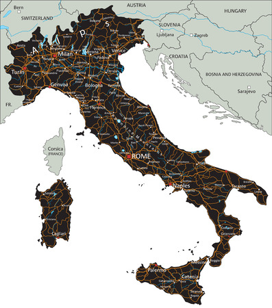 High detailed Italy road map with labeling. Illustration