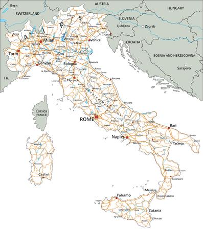 Hochdetaillierte Italien-Straßenkarte mit Beschriftung. Vektorgrafik