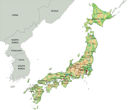 High detailed Japan physical map. Illustration