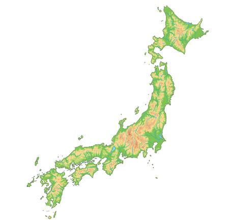 Hochdetaillierte physische Japan-Karte. Vektorgrafik