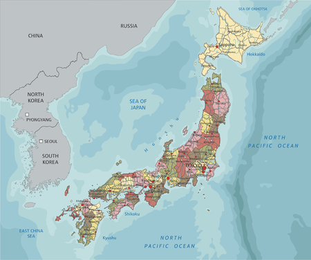 Japan - Highly detailed editable political map with labeling.