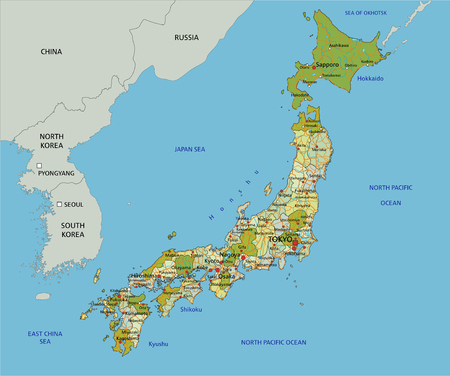 Highly detailed editable political map with separated layers. Japan.