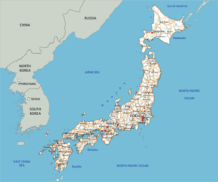 High detailed Japan road map with labeling. Illustration