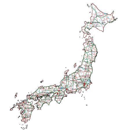 Japan road and highway map. Vector illustration. Ilustração