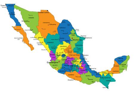 Mappa politica del Messico colorata con livelli separati chiaramente etichettati. Illustrazione vettoriale. Vettoriali