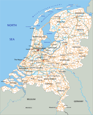 High detailed Netherlands road map with labeling. Zdjęcie Seryjne - 122617801