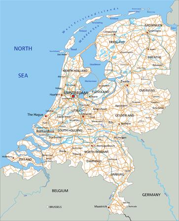 Hoge gedetailleerde Nederlandse wegenkaart met etikettering.
