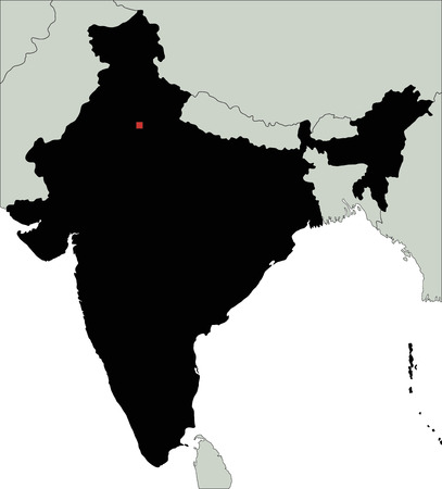 Highly Detailed India Silhouette map.