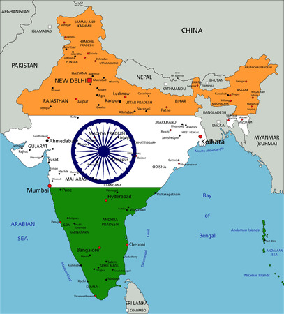India highly detailed political map with national flag isolated on white background.
