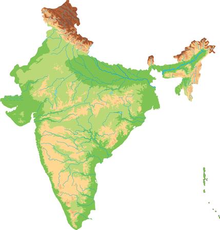 Carte physique de l'Inde très détaillée. Vecteurs