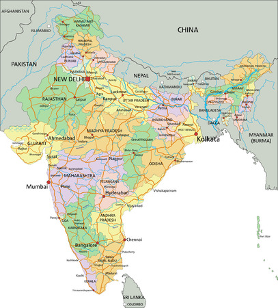 Inde - Carte politique modifiable très détaillée avec étiquetage.