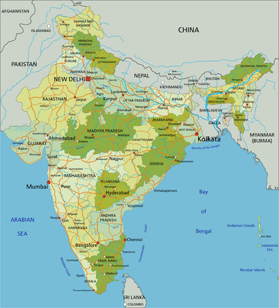Highly detailed editable political map with separated layers. India. Ilustração