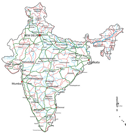 India road and highway map. Vector illustration. Illustration