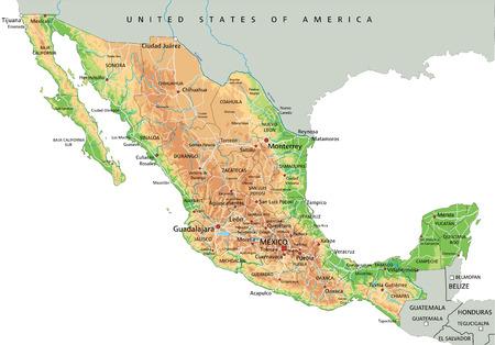 Hochdetaillierte physische Karte von Mexiko mit Beschriftung.