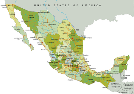 Highly detailed editable political map with separated layers. Mexico.