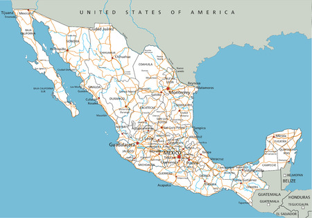 High detailed Mexico road map with labeling.
