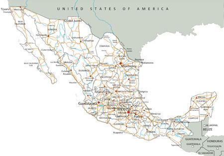 Alta hoja de ruta detallada de México con etiquetado. Ilustración de vector