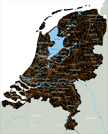 High detailed Netherlands road map with labeling.