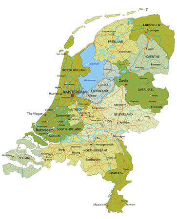 Highly detailed editable political map with separated layers. Netherlands.