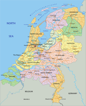 Netherlands - Highly detailed editable political map with separated layers. 일러스트