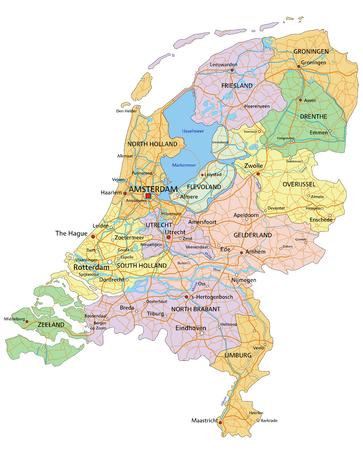 Nederland - Zeer gedetailleerde bewerkbare politieke kaart met gescheiden lagen.