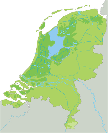 High detailed Netherlands physical map. Stock Illustratie