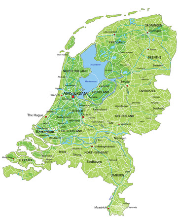 High detailed Netherlands physical map with labeling.
