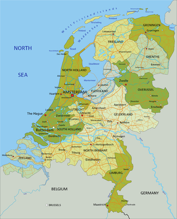Mapa político editable muy detallado con capas separadas. Países Bajos.