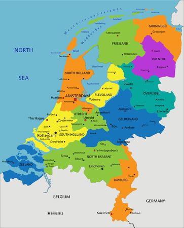 Colorful Netherlands political map with clearly labeled, separated layers. Vector illustration.