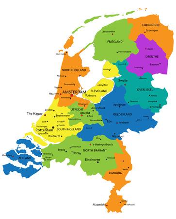 Carte politique colorée des Pays-Bas avec des couches clairement étiquetées et séparées. Illustration vectorielle.