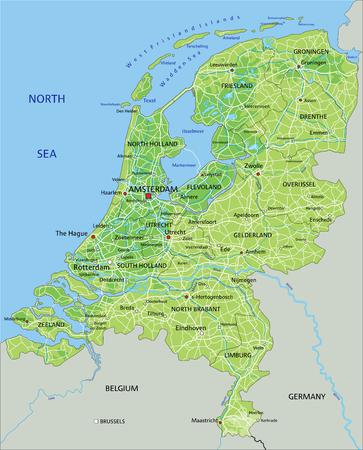 Alto mapa físico detallado de Holanda con etiquetado. Ilustración de vector