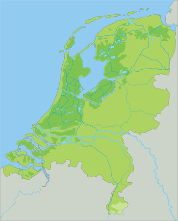 High detailed Netherlands physical map. Vector Illustratie